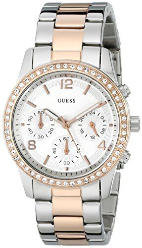Guess U0122L1 chronograph silver dial stainless steel bracelet women watch NEW *...