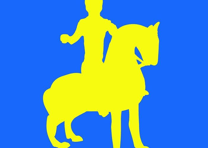 david bridburg,bridburg,aquamanile in the form of a mounted knight,mounted knight,knight,mounted,armor,knight in armor,blue,yellow,yellow on blue,aquamanile,bronze,bronze of mounted knight,bronze statue,contemporary 13 anonymous,contemporary,horse,reins,standing horse,yellow horse,horse and knight,blue background,sculpture,bronze sculpture,horse sculpture,sculpture of a knight,medieval mounted knight,a rider on a horse,soldier,soldier on a horse,soldier riding…