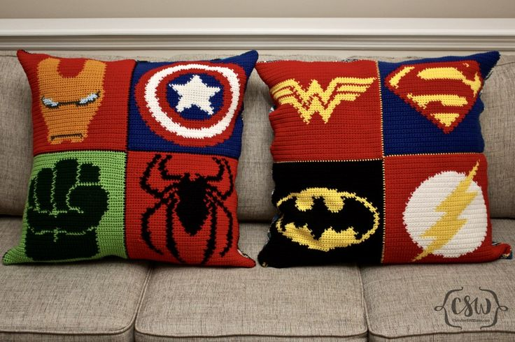 Marvel and DC Superhero Pillows - full crochet and sewing DIY instructions on Colorful Christine - Ironman, Captain America, Hulk, Spiderman, Wonder Woman, Superman, Batman, The Flash