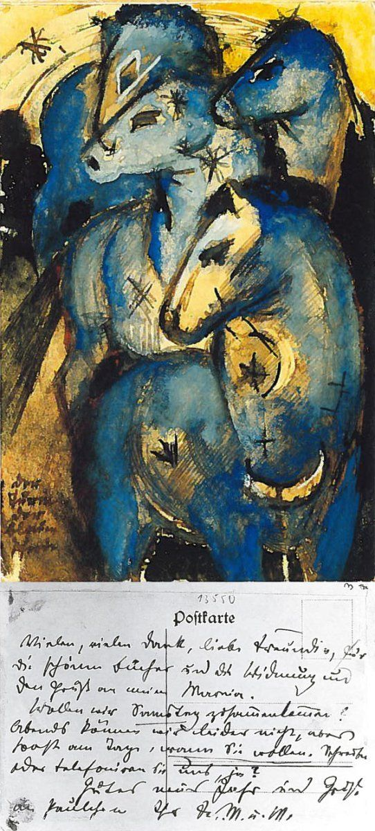 Postcards by Franz Marc / The Tower of Blue Horses, to Else Lasker-Schüler in Berlin, end of December 1912/early January 1913.