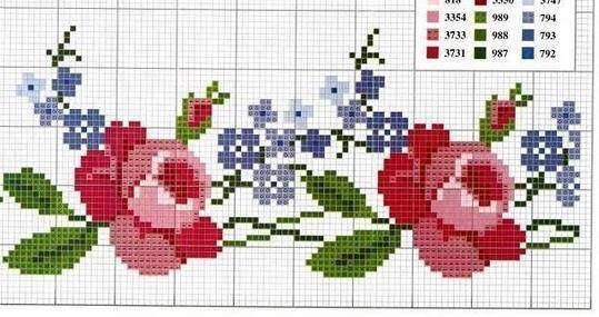 CURIOSA CORUJA: Gráfico Ponto Cruz - Flores e ramas                                                                                                                                                                                 Mais