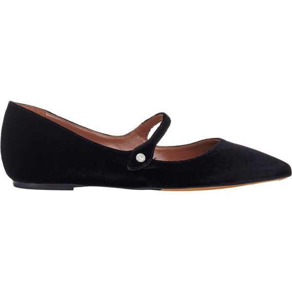 Tabitha Simmons Women's Velvet Hermione Flats ($695) ❤ liked on Polyvore featuring shoes, flats, black, mary-jane shoes, mary jane shoes flats, black shoes, black strap flats and black mary janes
