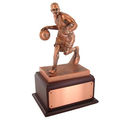"""3 1/2"""" electroplated antique bronze basketball trophy"""