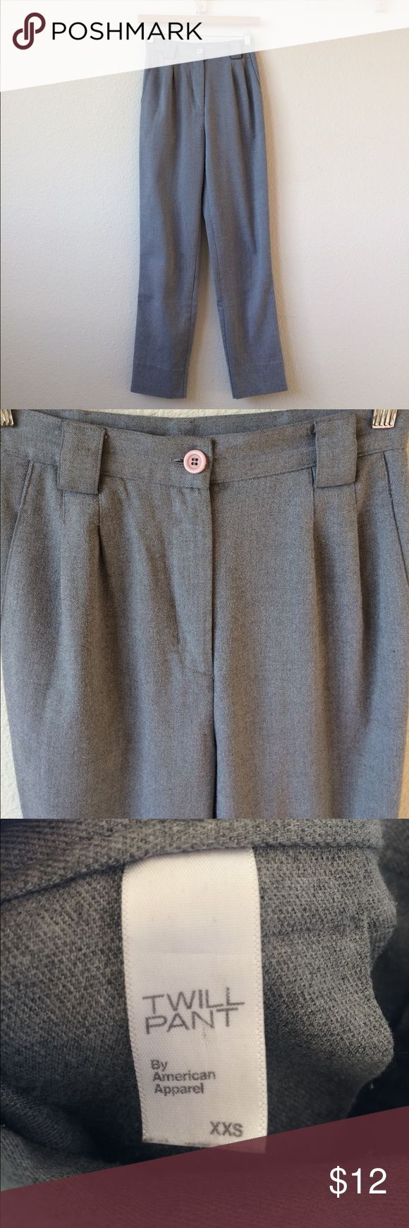 American Apparel Twill high-waisted Pant These high waisted Twill pants are a dream! Have pockets and look cute cuffed up once but hit about ankle length in me (I'm 5'4) great condition! American Apparel Pants Trousers