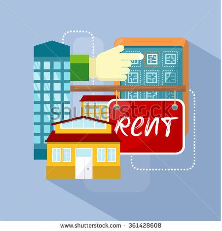 Flat rent price design concept flat. Price and business, estate house, rental home building, property residential, deal and money, apartment search illustration. Raster version