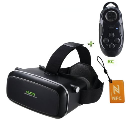 Glyby 3D VR Virtual Reality Glasses Headset with Head-mounted Headband and NFC Tag for 3.5-6.0 Inch Google, iPhone, Samsung Note, LG Nexus, HTC, Moto Smartphone