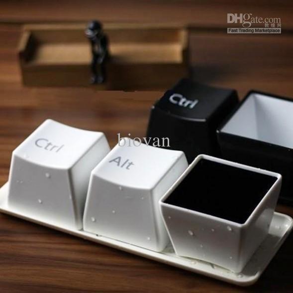Coffee Tea water Food Bowl Cup Keyboard CTRL Key Mug 1Set 3PCS + tray Creative Cup set