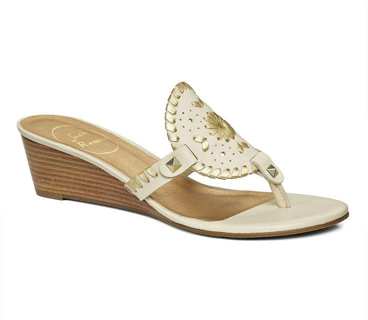Devyn Mid Wedge Bone / Gold - Jack Rogers USA. Sandals On SaleWedge ...