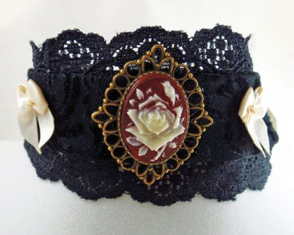 Red rose choker gothic black brocade bronze steampunk cameo necklace Victorian lolita fashion by LolitaPopShop
