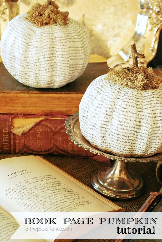 How to make a book page pumpkin from dollar store foam pumpkins!