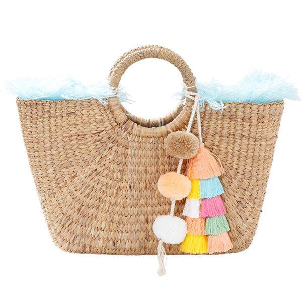 Jadetribe Fringe Basket Bag found on Polyvore featuring bags, handbags, fringe tassel bag, straw purse, fringe bags, tassel handbags and fringe handbags