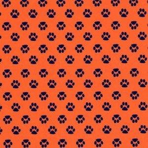 Mini Navy Paw Print on Orange Fabric by Fabric Finders  100%