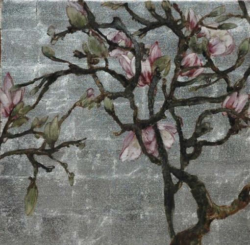 Pink magnolias gilded in silver by Claire Basler