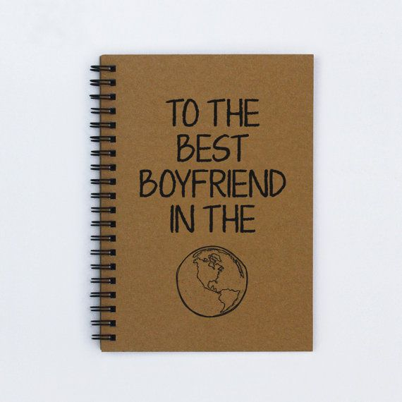 "Gift for boyfriend - To the Best Boyfriend in the World - 5"" x 7"" Journal, notebook, diary, sketch book, memory book, scrapbook, book, gift"