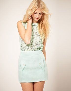 Sweet ASOS Cotton Lace Blouse With Double CollarMintgreen, Mint Green, Lace Blouses, Style, Peter Pan Collars, Spring Fashion, Fashion Trends, Easter Outfit, Spring Outfit