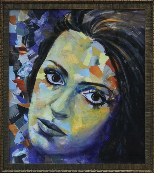 Collage portrait of the artist's mother's face as a young woman. Painted in yellow, orange and purple colors. Created by recycling a variety of paper products.
