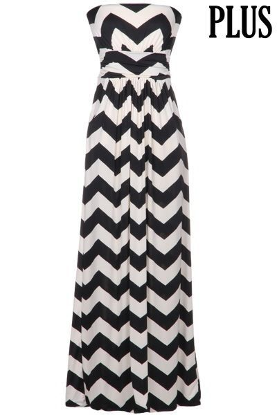 52e1e208e9d PLUS SIZE MAXI DRESS CHEVRON PRINT NAVY AND WHITE WITH SIDE POCKETS TUBE TOP
