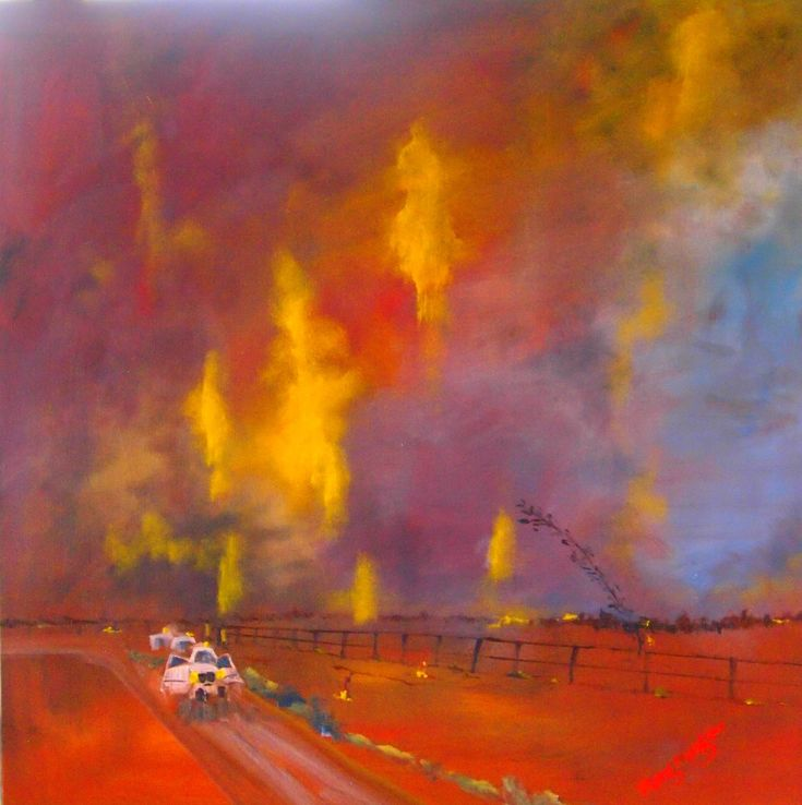 """""""The fires and the night sky (Framed)"""" by Margaret Morgan (Watkins). Paintings for Sale. Bluethumb - Online Art Gallery"""