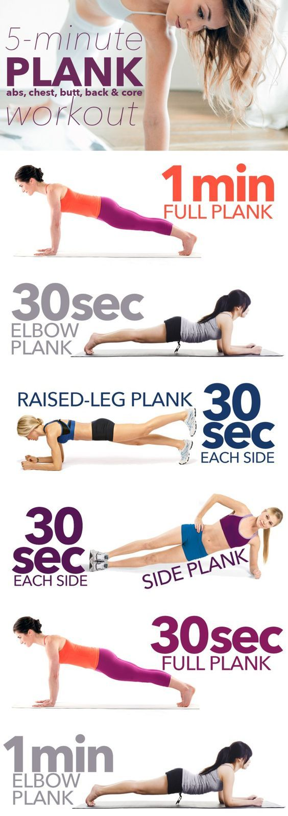 5 Minute Plank, Abs, Chest, Butt, Back And Core Workout Infographic (Five More Minutes)