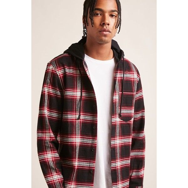 Forever21 Plaid Flannel Hooded Shirt ($28) ❤ liked on Polyvore featuring men's fashion, men's clothing, men's shirts, men's casual shirts, mens plaid shirts, mens tartan shirt, mens short sleeve plaid shirts, mens long sleeve shirts and mens casual long sleeve shirts