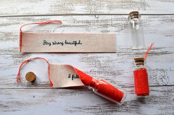 PERSONALISED Message In A Bottle - Embroidered Message - Secret Message - Cotton Anniversary Gift - Second Anniversary Gift, Valentines Gift
