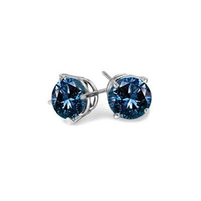 1/5 ct. Blue - Round Brilliant Cut Diamond Earring Studs inTw Blue, Diamonds Earrings, 14K White, Stud Earrings, Blue Diamonds, Carat Tw, Diamond Earrings, Diamonds Studs Earrings, White Gold