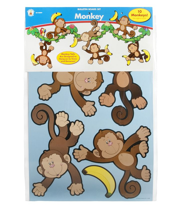 "Includes 10 monkeys (largest approx. 10.25"" x 12"") 4 vine sections 5 leaf and flower bunches 36 bananas A resource guide Monkey tails are designed to hang onto vines and bananas                                                                                                                                                     More"