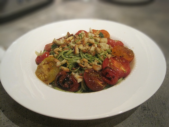 Linguini with salsa verde, gremolata, tomatoes. From Would Rather Gather.