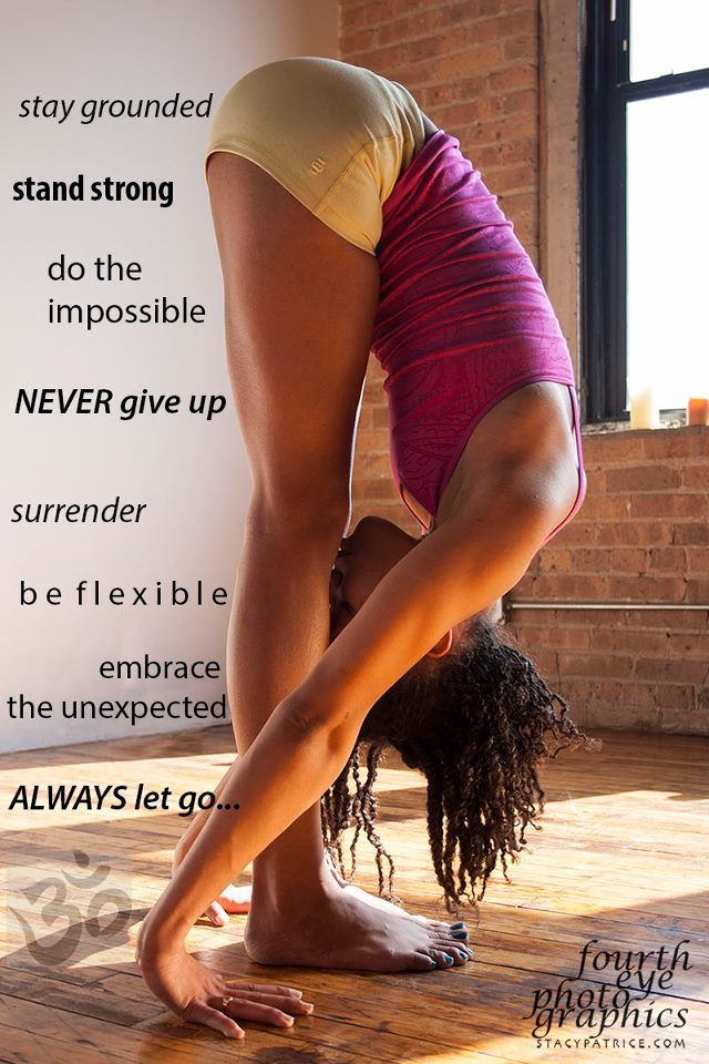 Surrender. Forward folds often cause folks feelings of need (need to get my nose to my knees) or want (want to get further than that guy next to me).  Surrender to gravity and let go of desire.