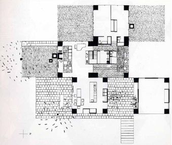 Luis Kahn – Adler House - 1954 #viviendas #arquitecturadibujos #plantas