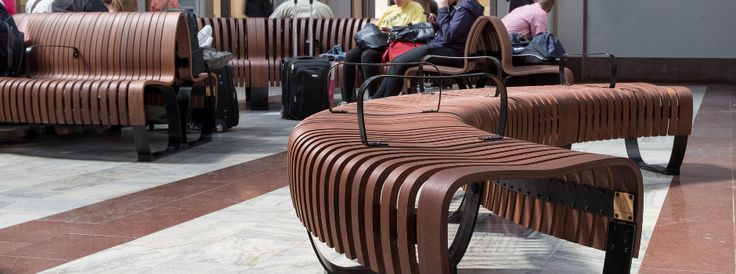Green Furniture Sweden – Nova C/Nova C with BackRest at Stockholm Central Station  #greenfurnituresweden #greenfurniture #JohanBerhin #ecofurniture #sustainabledesign #scandinaviandesign #novac  #novacwitharmrest #novacwithbackrest #StockholmCentralStation  #bench