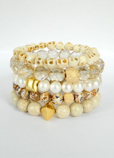 Neutral cream white Stretch Bracelets