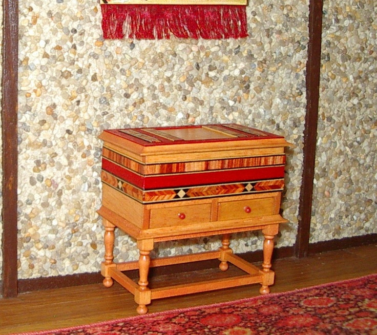 Hope Chest, Folk Art Dower Chest, Dollhouse Miniature 1/12 Scale. $75.00, via Etsy.