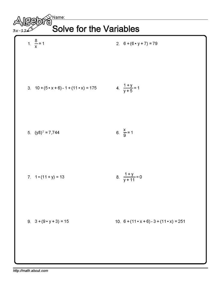 Algebra Algebra Algebra Worksheets Solving