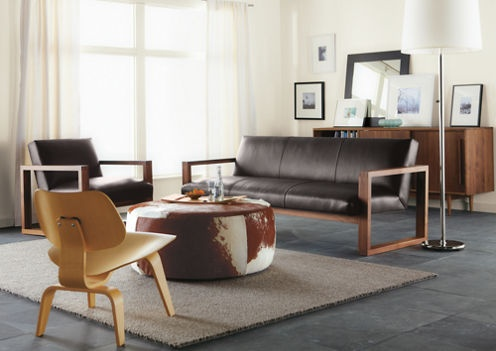 *SF *Lind Cowhide Round Ottomans   Cocktail Tables   Living   Room U0026 Board  (like Pouf, Lamp, Rug And Art In Background)