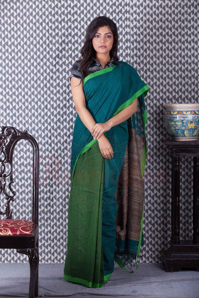 Dark & Light Green Khadi Cotton Handloom Saree-KCH09650201