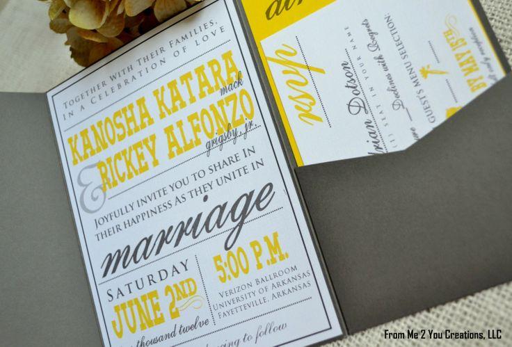 wedding invitations grey | Cheap Gray And Yellow Wedding Invitations