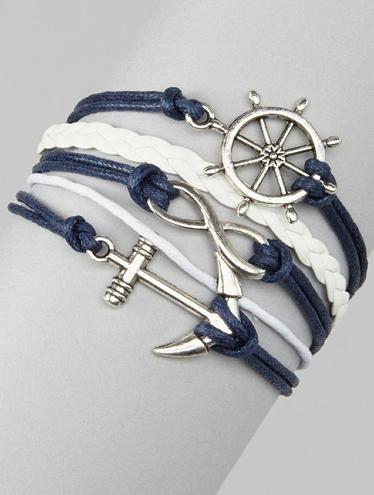 Navy Guided Wheel & Anchor Cord Bracelet