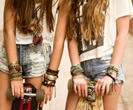 Long boarding: Hipster Fashion, Skater Girls, Best Friends, Style, Bestfriends, Long Hair, Summer Girls, Jeans Shorts, Skateboard
