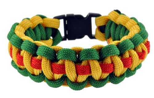 Bohemian Rasta Survival Bracelet, Paracord Bracelet, Para-cord Bracelet, Green, Yellow, and Red, 9 Inches, #15