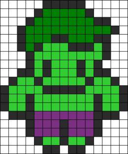 The Hulk Perler Bead Pattern | Bead Sprites | Characters Fuse Bead Patterns