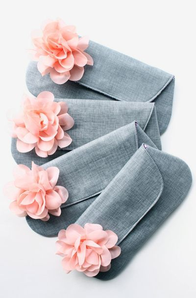 Gray and Peach Bridesmaid Clutches Set of 5