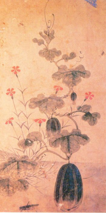 (Korea) 참외와 메뚜기 by Lady Shin Saimdang (1504- 1551). 45.0×25.0cm. color on paper. Private collection.
