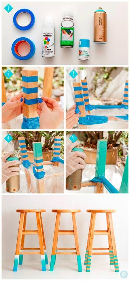 Sigue los pasos y transforma tus sillas dándoles un toque muy colorido <<< Solo necesitas cinta adhesiva y pinturas en aerosol