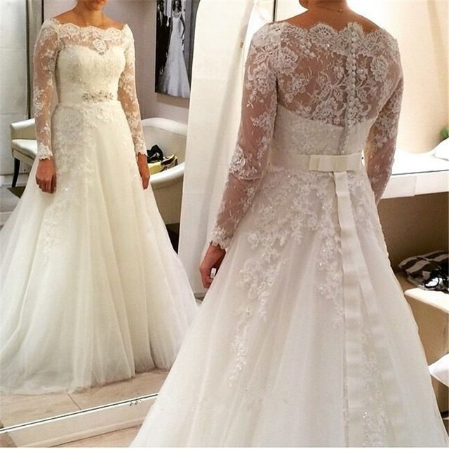 2016 New Style Plus Size Wedding Dress Long Sleeve With Bow Back Court Train Bride Dresses
