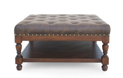 Leather Ottoman with storage space but lighter leather