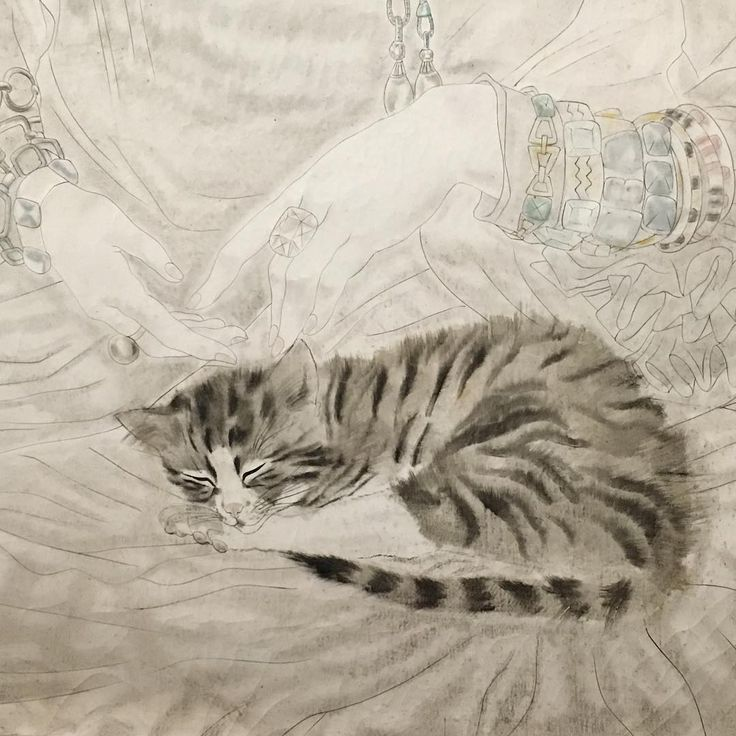 #foujita #foujitapeindredanslesannéesfolles #fujita #painting #peinture#artiste#cat#chat# ...