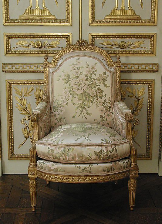 Bergère à la Reine (one of a pair) attributed to Demay, c. 1785; French, carved and gilded walnut covered in modern silk tampas woven with floral design.