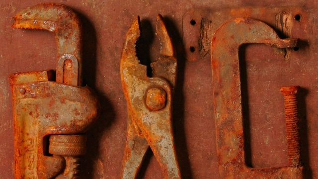 How to Remove Rust From Old Tools: Spray with WD-40 & scrub with a Heavy Duty Scotch-Brite Pad. For heavily rusted metal use a rust remover like Rust Free.