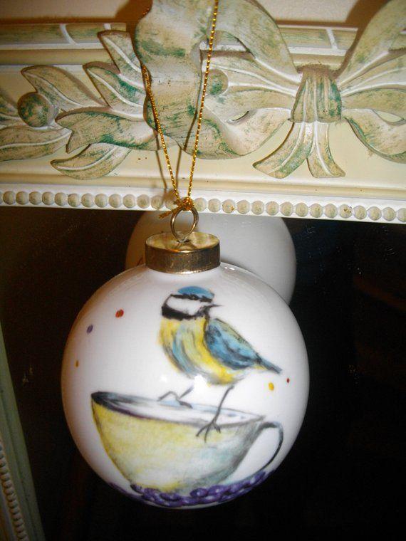 boule de Noël/peint main/porcelaine / mésange | Christmas bulbs